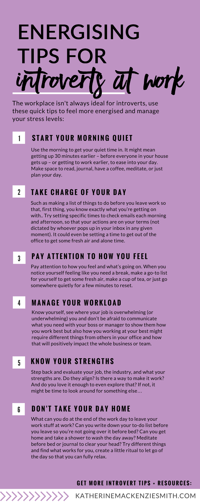 The workplace isn't always ideal for introverts, use these quick tips to feel more energised and manage your stress levels: