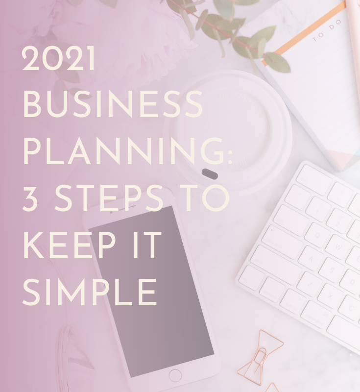 """flatlay office desk with coffee cup, keyboard, phone, stationery and the text """"2021 Business Planning"""" 3 Steps To Keep It Simple"""""""