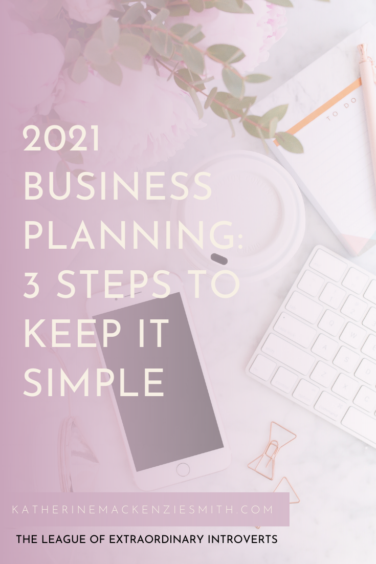 "flatlay office desk with coffee cup, keyboard, phone, stationery and the text ""2021 Business Planning"" 3 Steps To Keep It Simple"""
